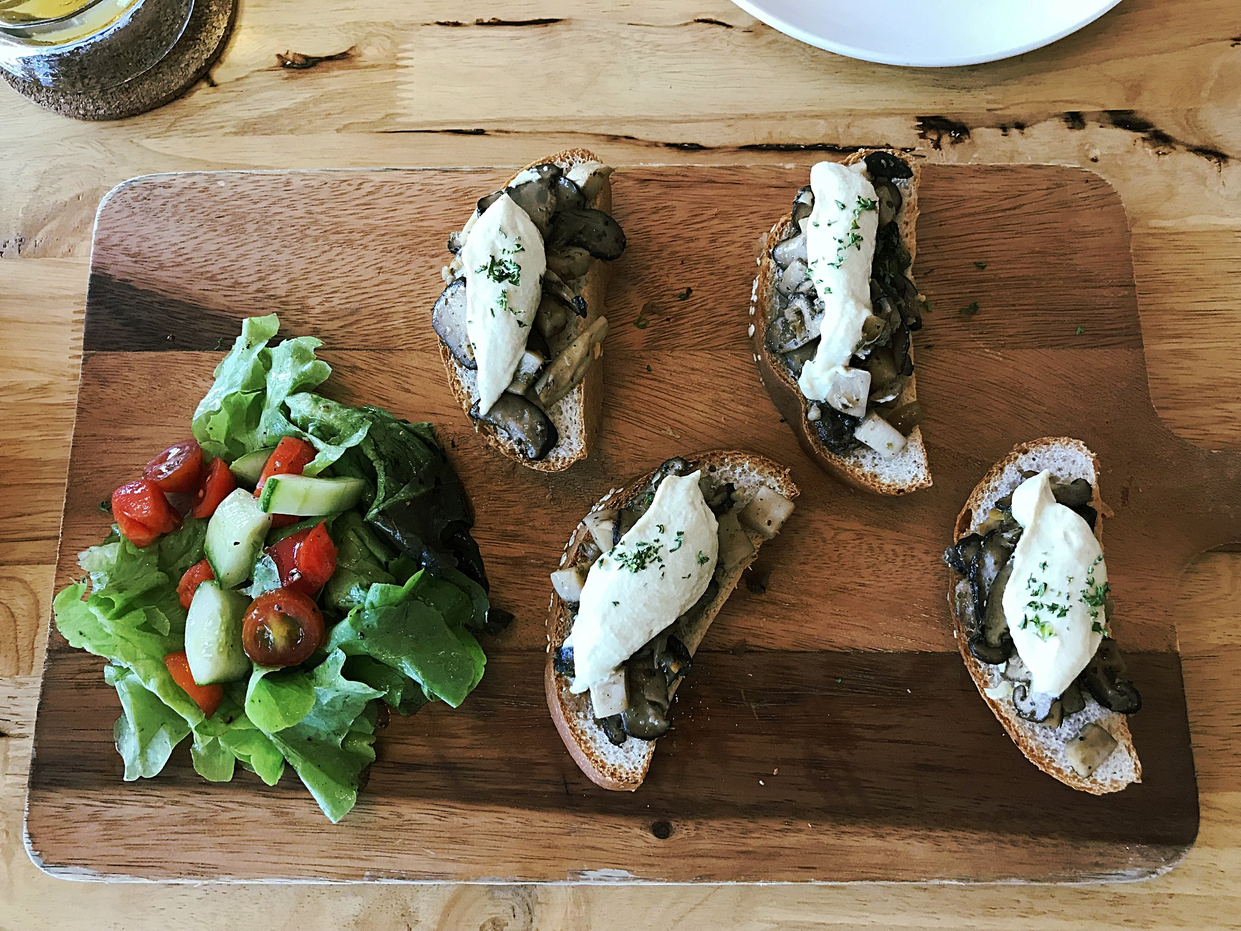 Mixed mushroom and vegan ricotta bruschetta