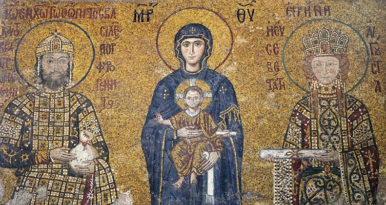 A Virgem e o menino com o imperador João II Comneno e a imperatriz Irene da Hungria,  c. 1122.