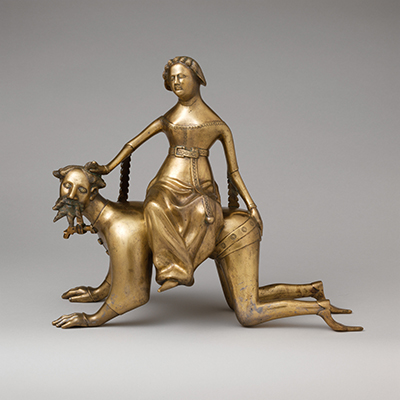Aquamanile in the Form of Aristotle and Phyllis, late 14th or early 15th century,  Metmuseum