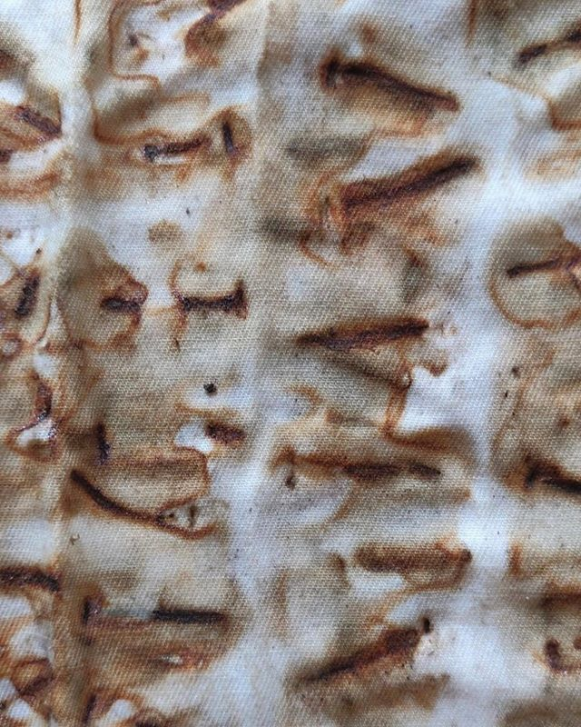 Rust dye on cotton from nails that were pulled from lath wood @gomezdesignstudio 🧡 #rustdyeing #rustdyeing