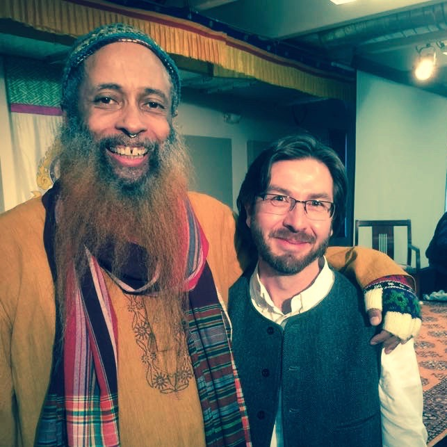 Pir Ibrahim Farajajé and Netanel Miles-Yépez at the memorial event celebrating Rabbi Zalman Schachter-Shalomi's life and legacy at Naropa University, March 1, 2015. Photo by Issa Farajajé.