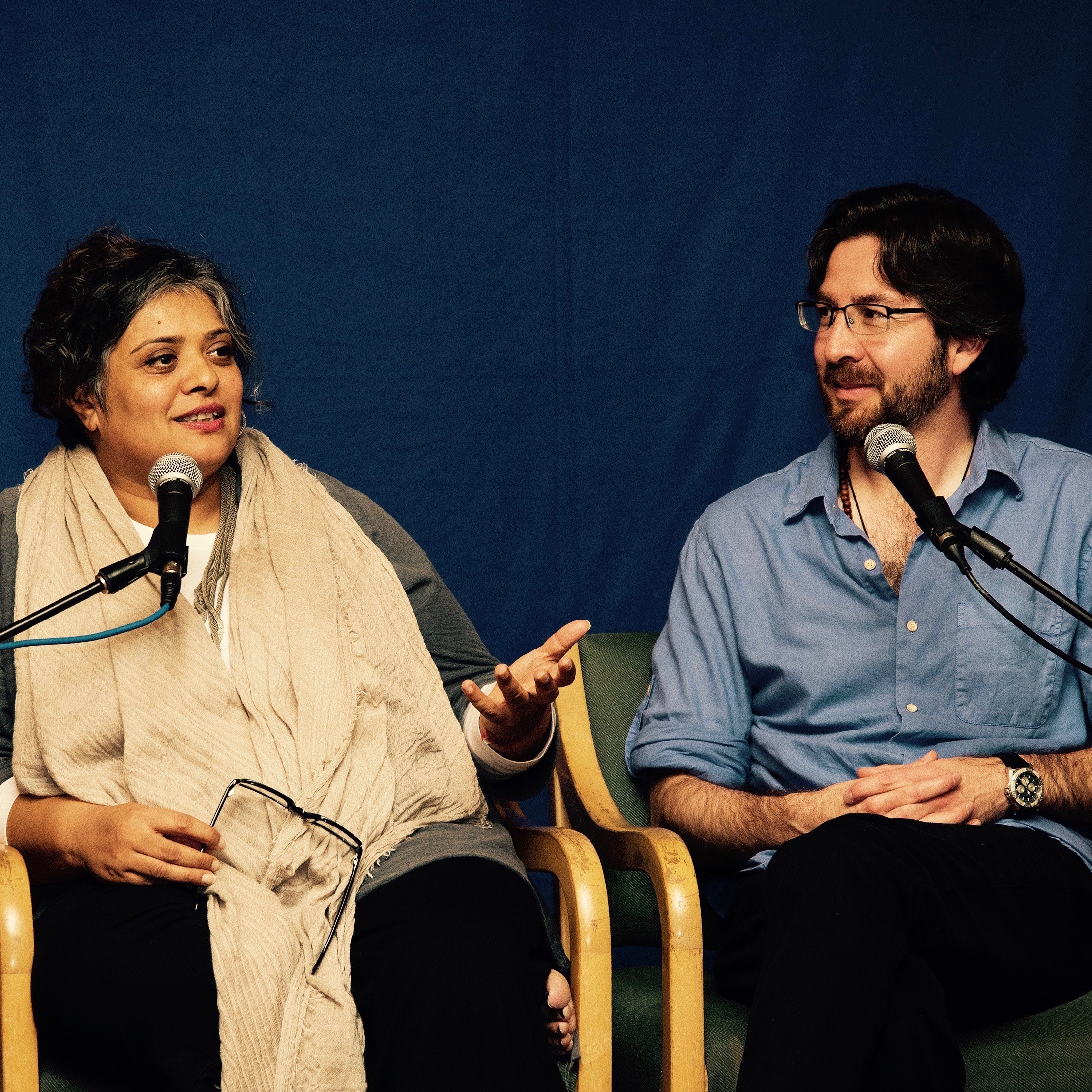 Deepa Gulrukh Patel and Netanel Miles-Yépez in dialogue. Photo by Hilary Benas, 2015.