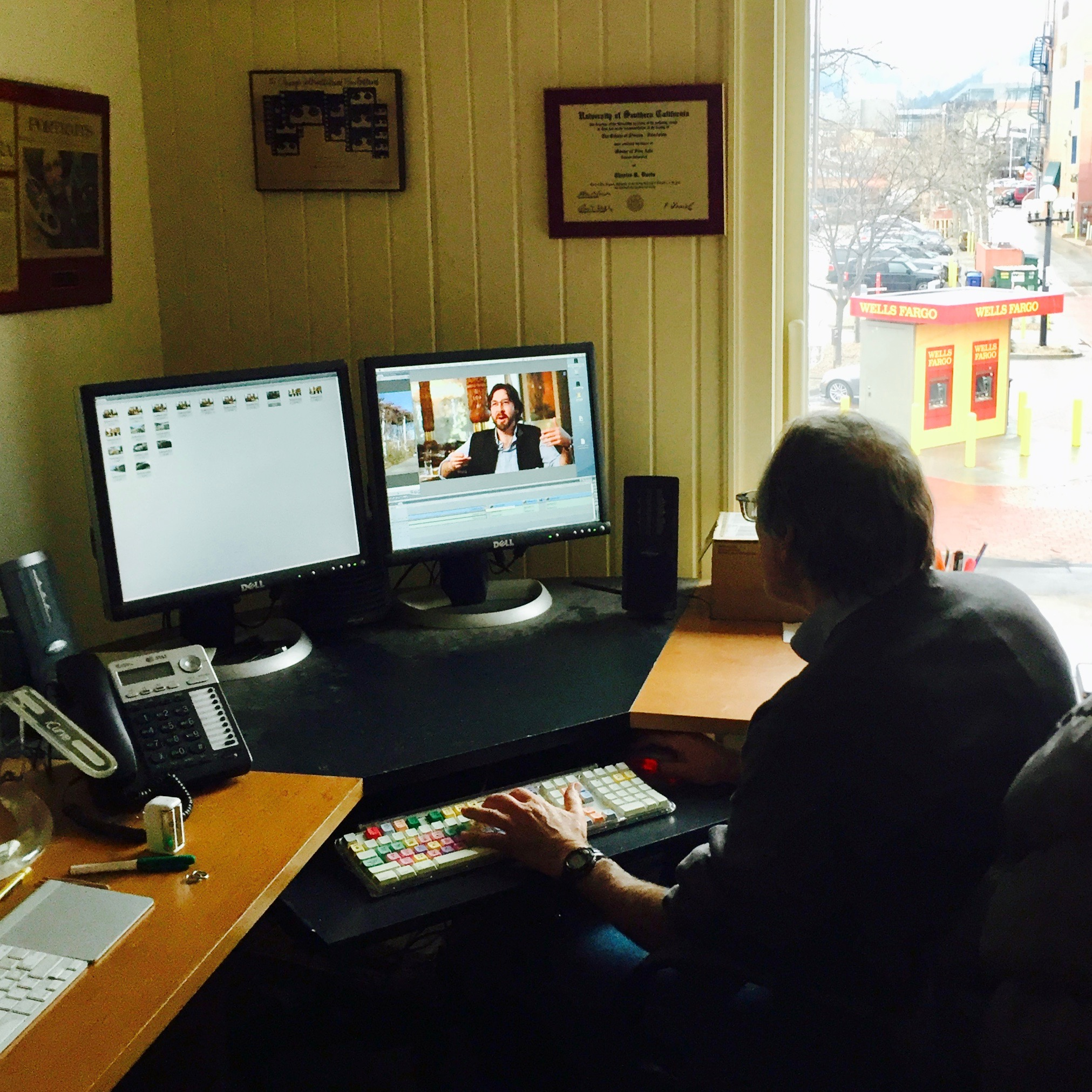 Filmmaker, Chuck Davis, editing interview footage from the Teahouse in Boulder.
