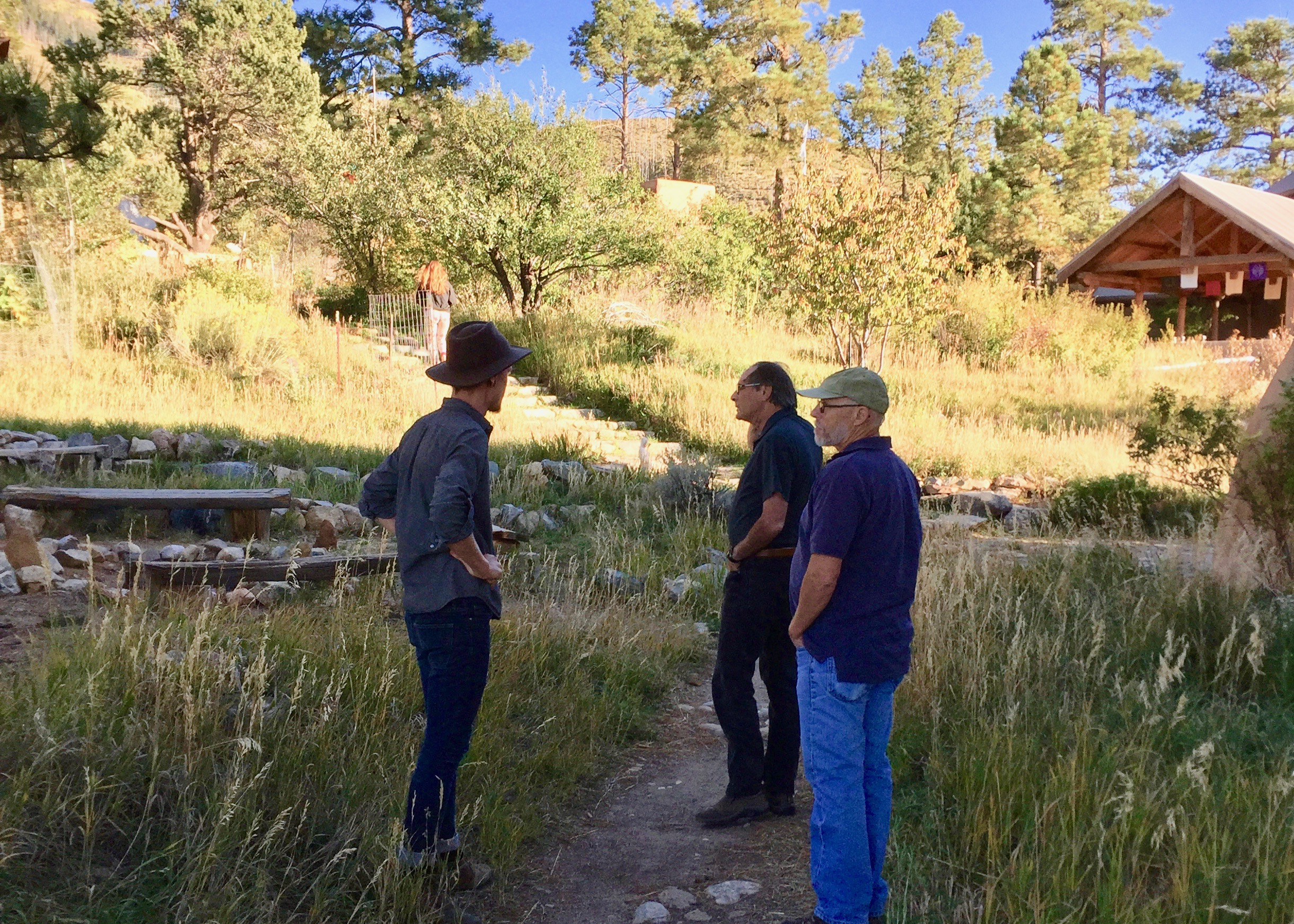 Lama coordinator, Lucas Kestrel Sego, scouting locations with filmmaker, Chuck Davis, and videographer, Randolph Pierce.