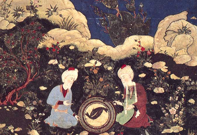 The prophets Elias and Khadir at the fountain of life, late 15th century. Timurid period.  Herat, Afghanistan.