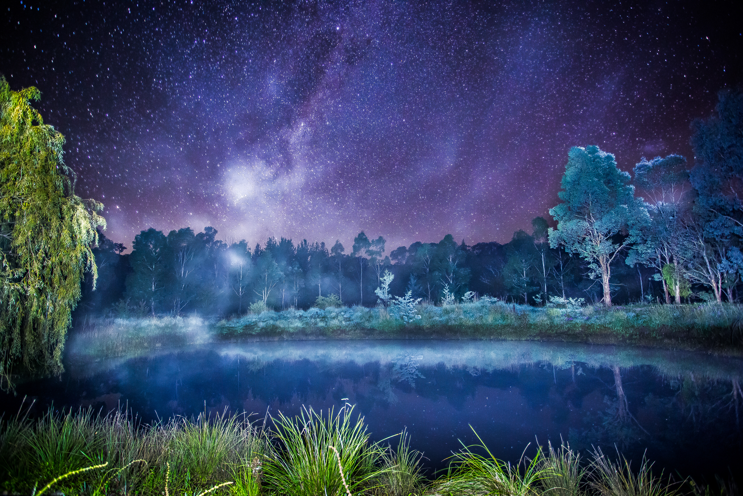 One of my award-winning star photographs I took back in April of the Milkyway reflecting light onto a small dam. The temperature was close to 0 if not below and the water was creating fog which was rising from the dam and slowly drifting away.