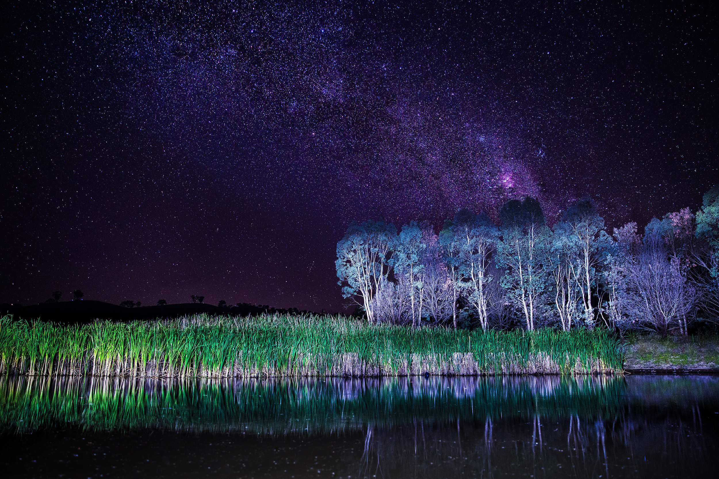Milkyway reflection on a dam at a property I was staying at.