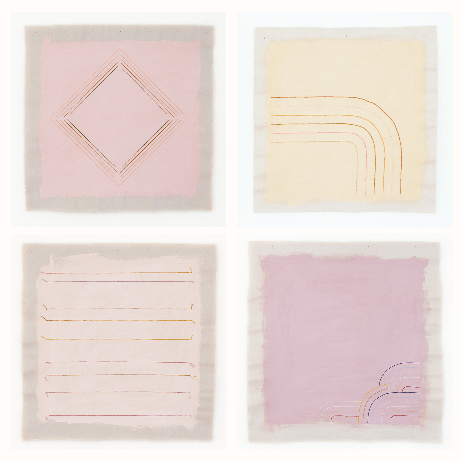 Pastel pink and yellow modern art gallery wall