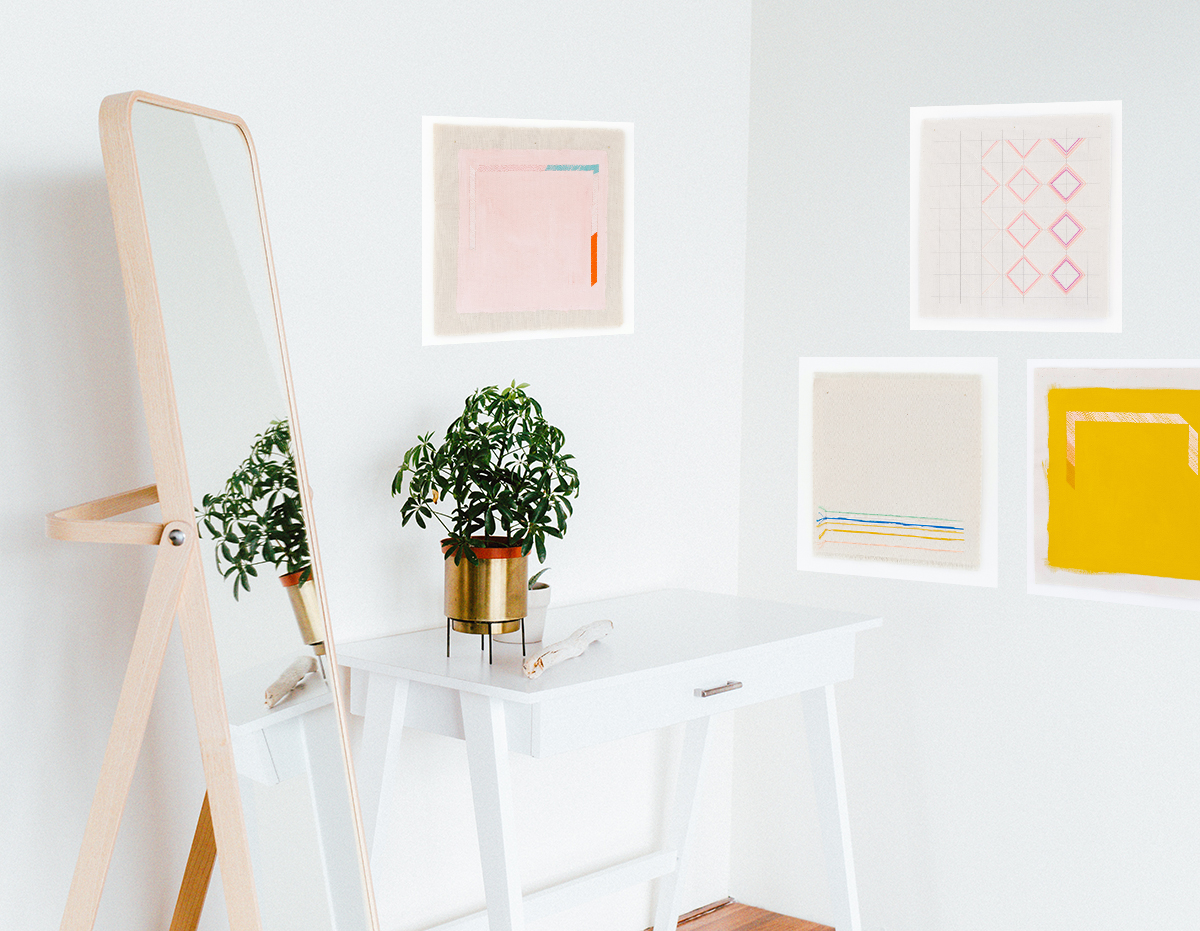 sunny bright gallery wall with art prints by Emily Keating Snyder