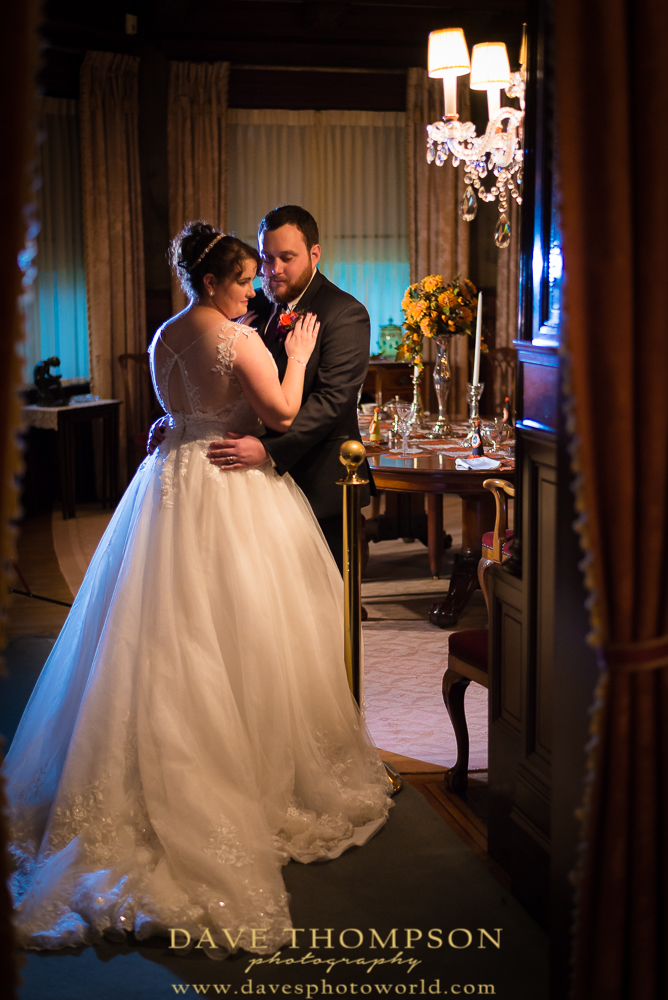 Another photo taken inside the Oliver Mansion.  Bride and groom in an elegant setting.  What a fairy tale setting for a wedding!