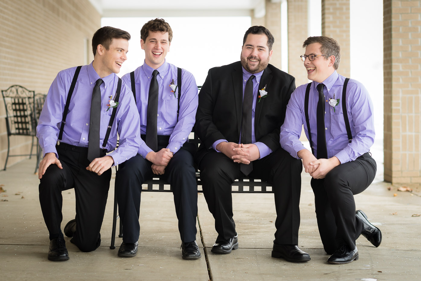 Groomsmen in Purple Shirts with Groom