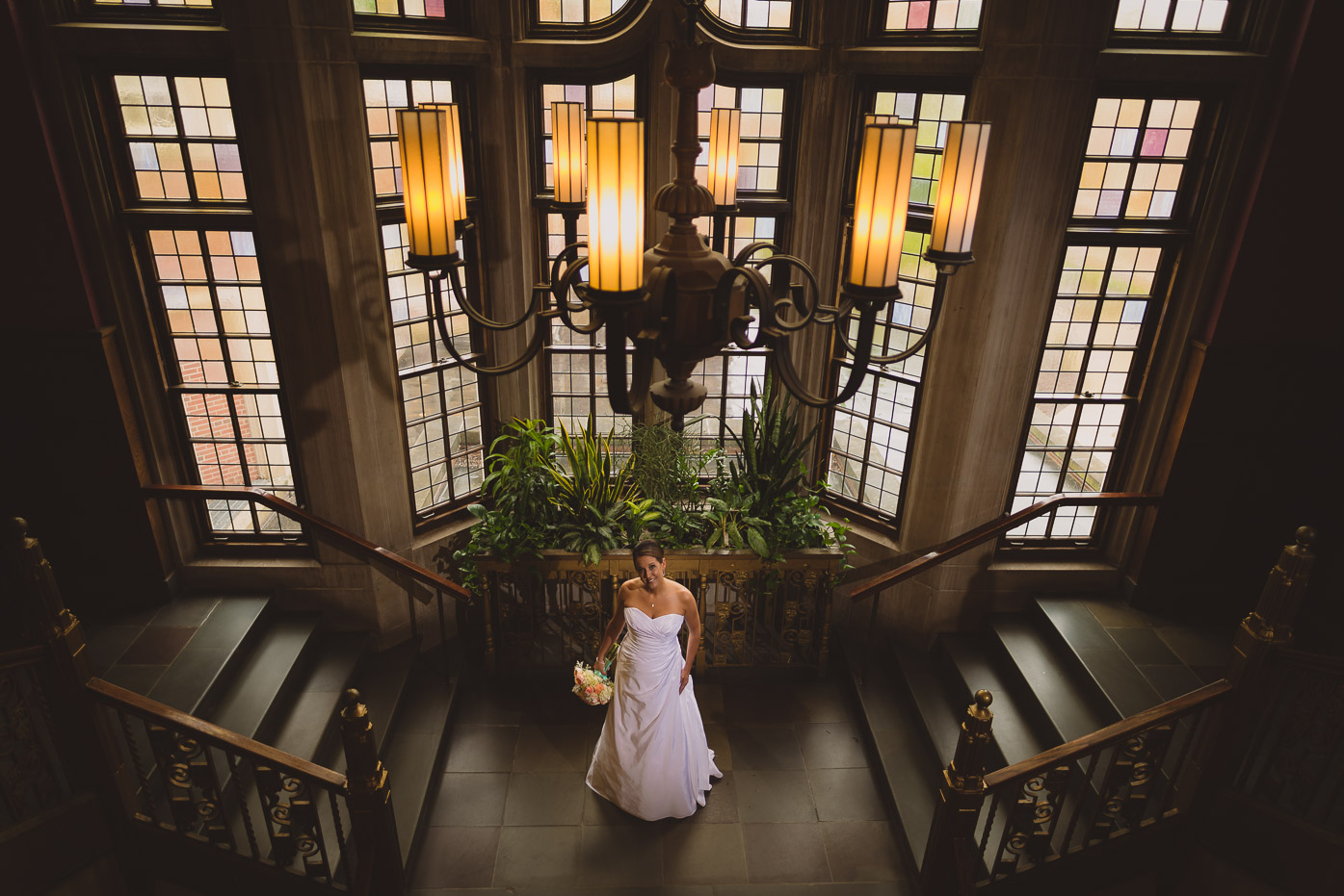 Bride with Stained Glass and Chandelier at Purdue Memorial Union