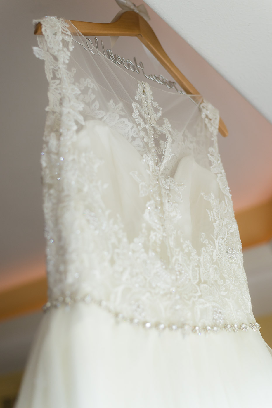 Wedding Dress Back with Lace and Diamonds
