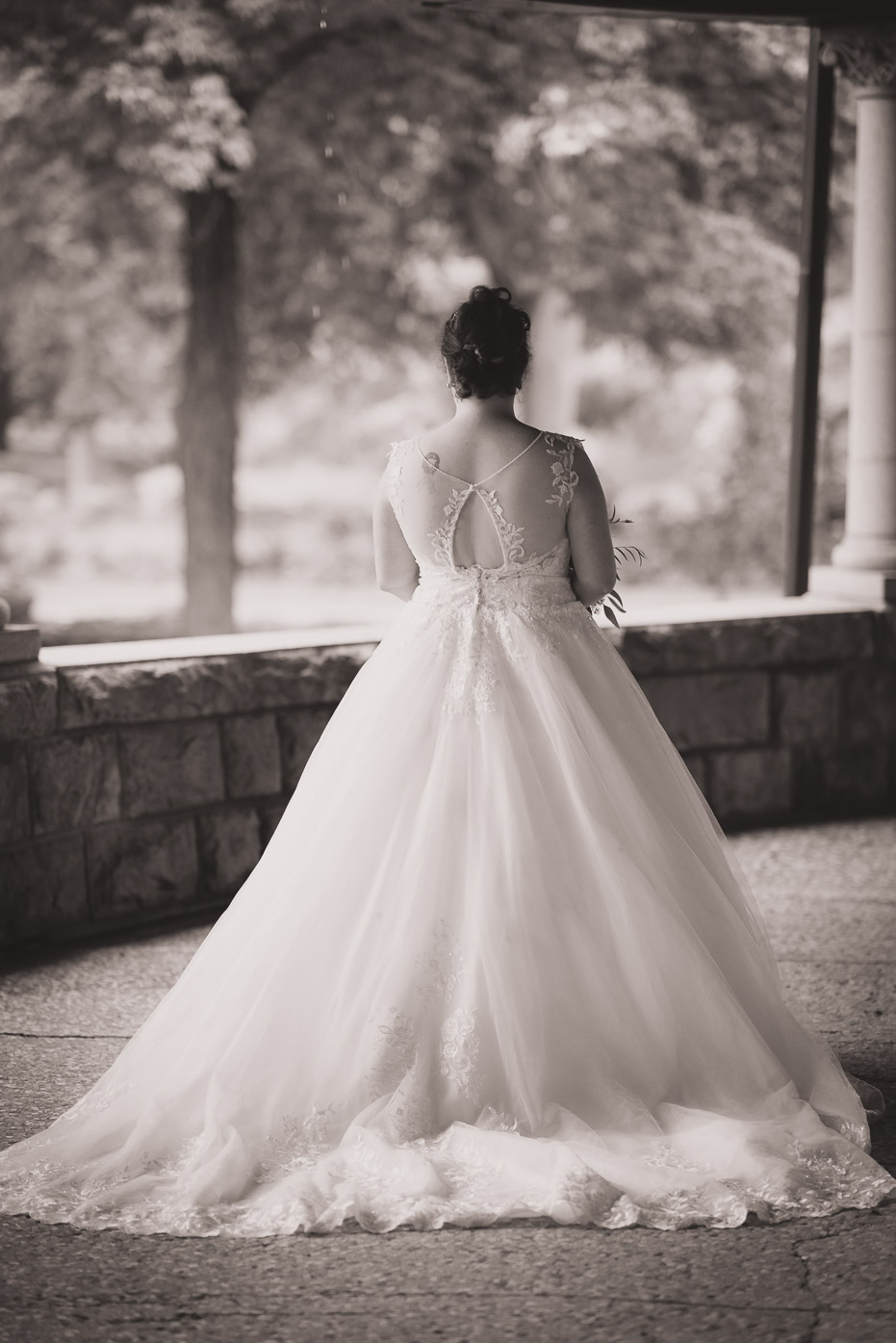 Back of Bridal Gown Flowing Train on Wedding Day