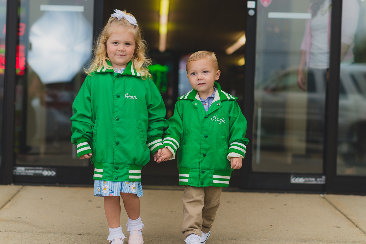 Kids in family jackets
