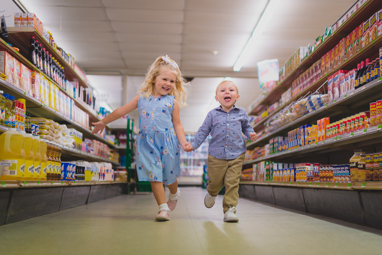 Kids playing in family store