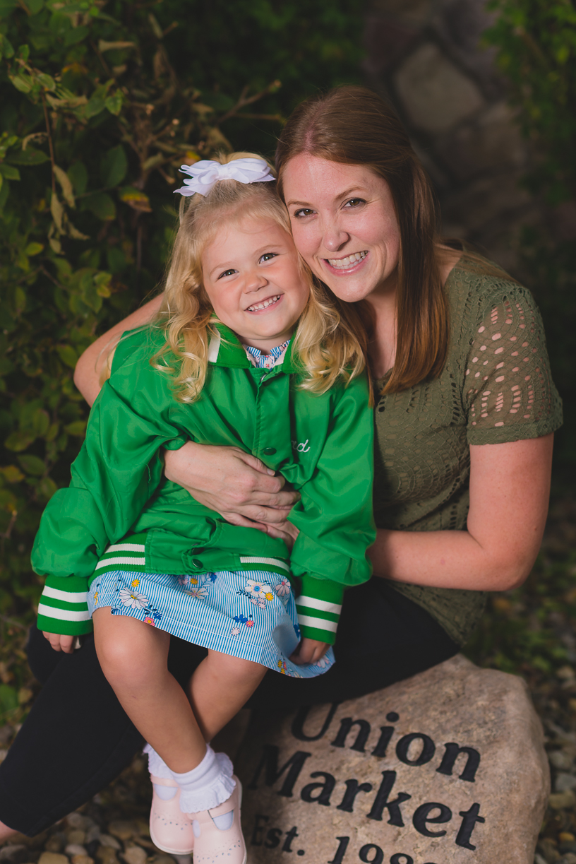 Aunt with niece for family photo