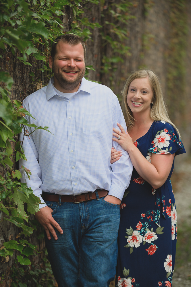 Engagement photos in downtown Goshen Indiana.  Outdoor urban photos in Shanklin Park by wedding photographer.