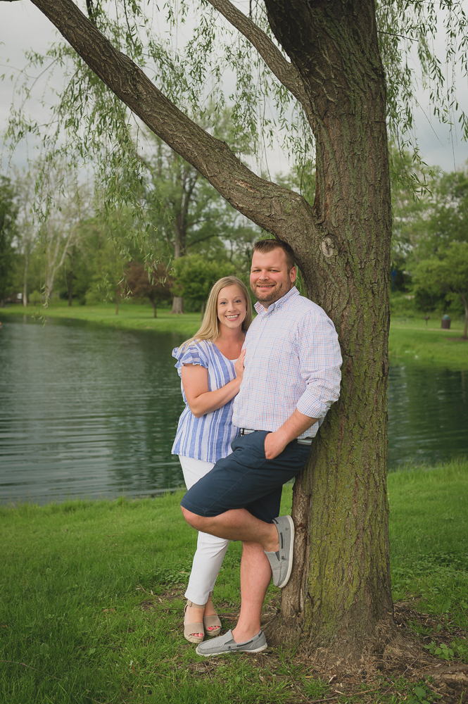 Goshen willow tree & pond engagement photos