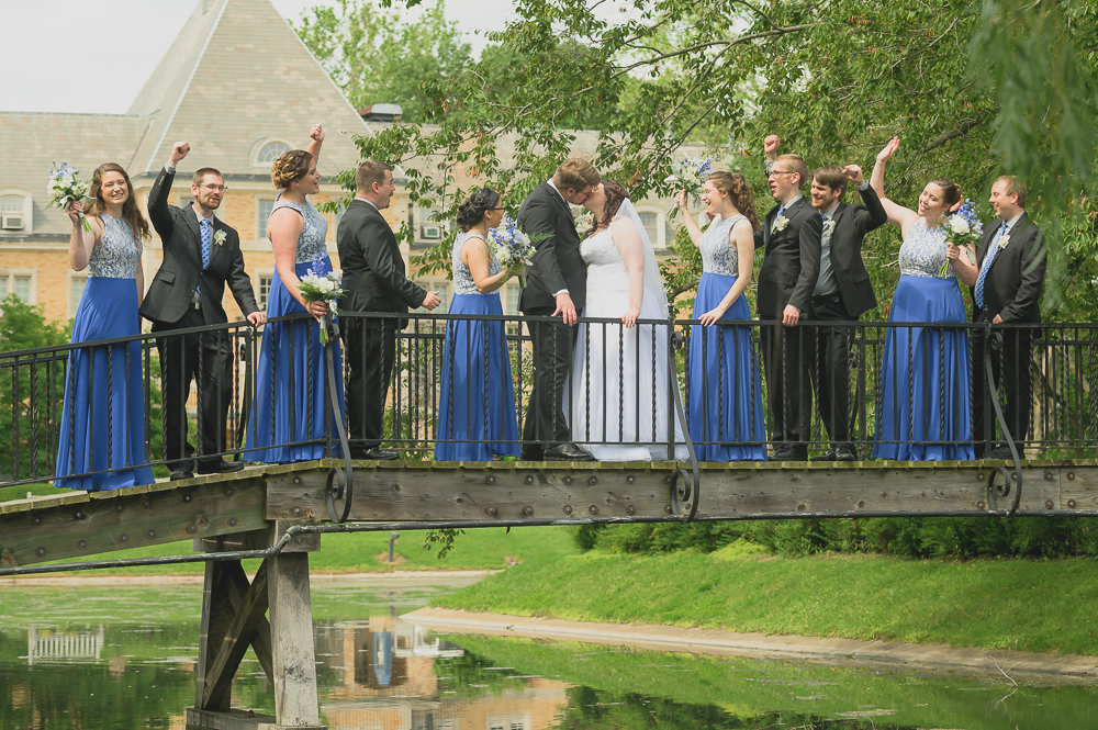 Wedding Party on Bridge at St. Mary's Campus.jpg