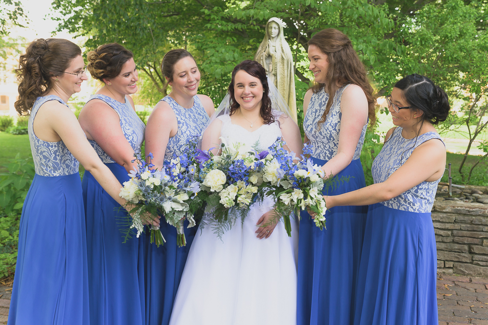 Bridesmaids with bride at St. Mary's