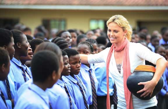 Charlize and the kids.