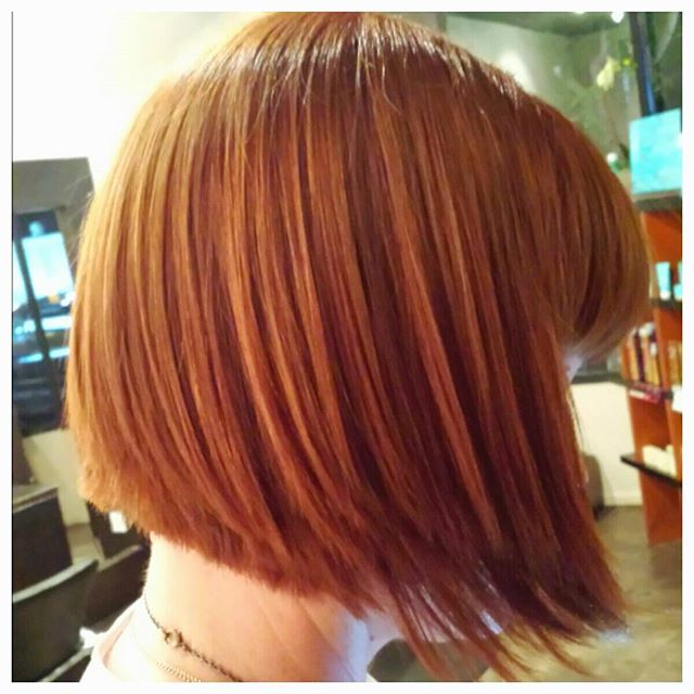 Shattered #alinebob ASALONOFSTUDIOCITY by stylist Todd Sterling Brown @toddsterlingbrn  a #copper base color and color gloss.  #redhead #colorist #bob #toddsterlingbrown #schwarzkopfprofessional #redkenshades #studiocity #colorist