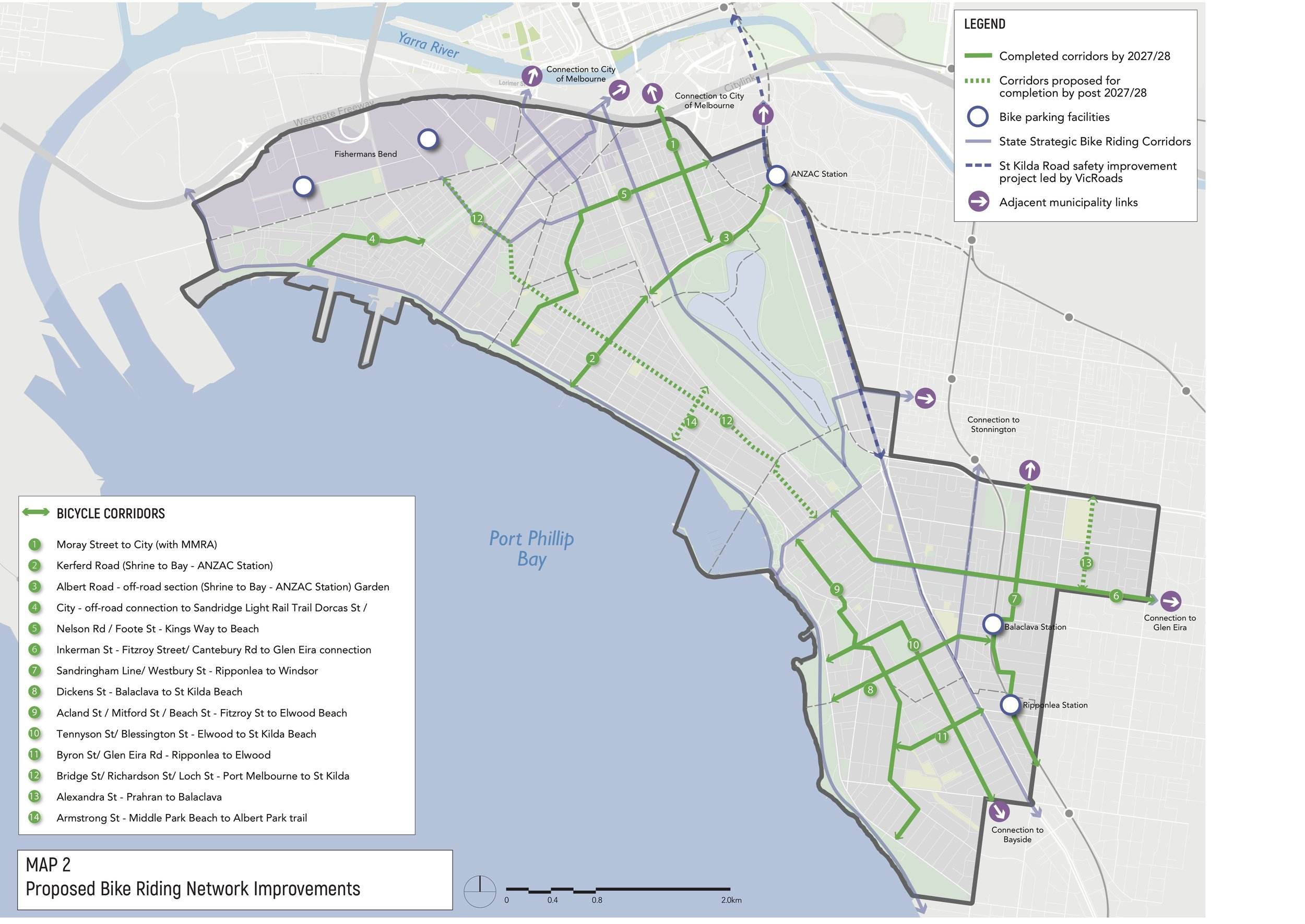 Proposed cycling corridors. Original map  here.