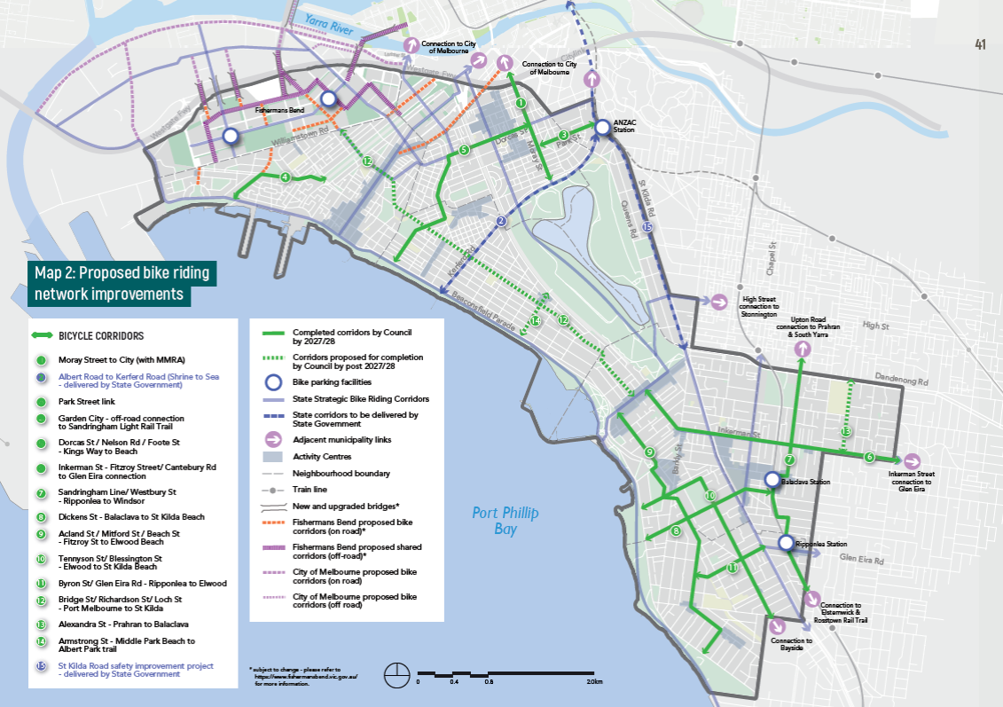 Planned protected bike routes