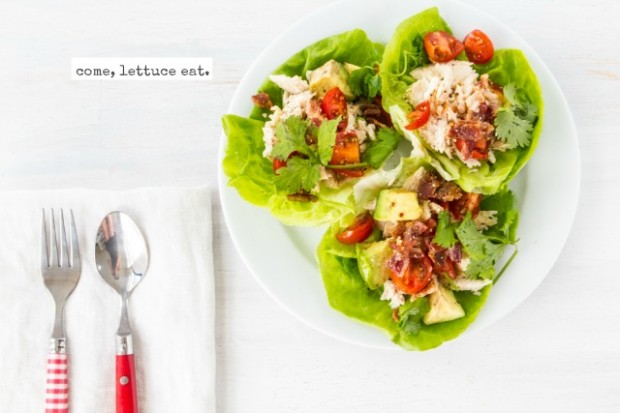 BLAT LETTUCE WRAPS   INGREDIENTS:  1 (12.5 ounce) can cooked chicken breast, drained 2 tablespoons vinegar 2 tablespoons olive oil 1 avocado, diced 1 large tomato, diced 1/4 cup bacon bits salt & pepper cilantro 8 Bibb lettuce leaves  DIRECTIONS:  1. In a large bowl, shred chicken. 2. Drizzle with vinegar and olive oil 3. Salt and pepper to taste. 4. Spoon into lettuce cups. 5. Top with avocado, tomato, bacon bits, and cilantro. 6. Enjoiiii!   Serves 4.