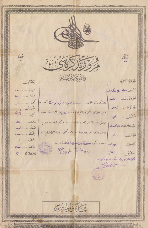 Ottoman Student Travel Document, 1906