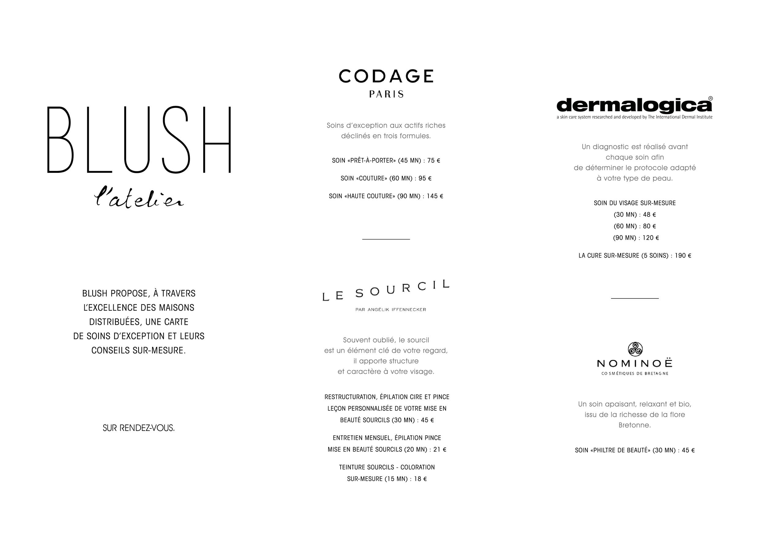 Carte soins du visage chez Blush Rennes