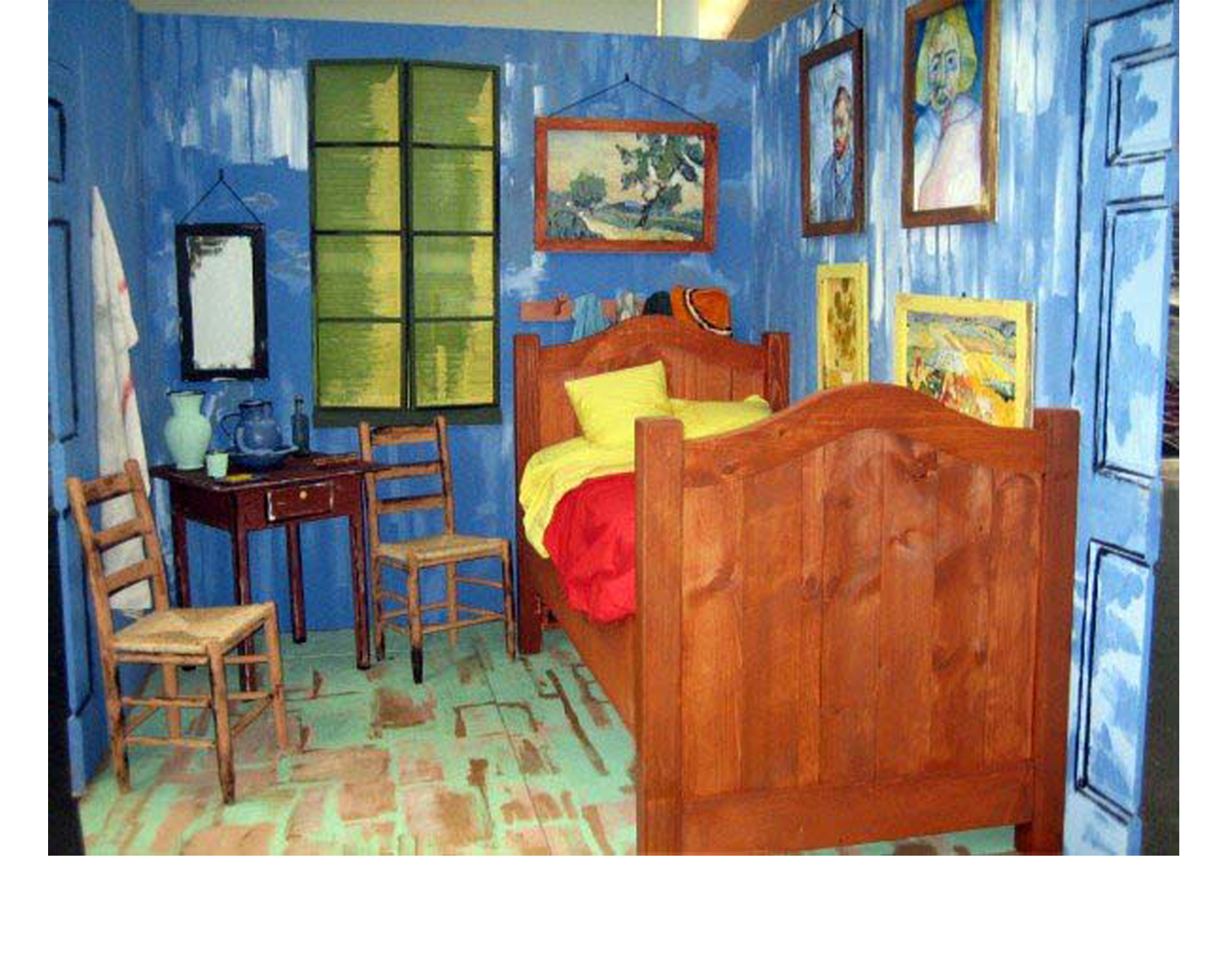 prop construction _ scenic painting_3D realization of Van Gogh's bedroom at Arles_Leonard Bernstein Festival of the Arts, Brandeis University_2007.png