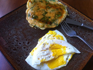 Variation one, egg-free pancakes with a side of eggs :)