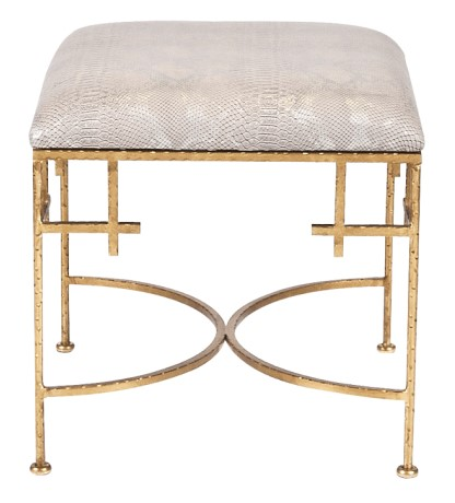Silver snakeskin and gold ottoman from Worlds Away - available for purchase through The Guest House Studio