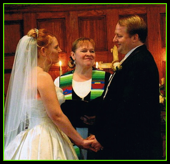 Rev. Rebecca in a chapel wedding