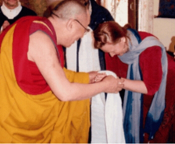 Rebecca in India with His Holiness the Dalai Lama