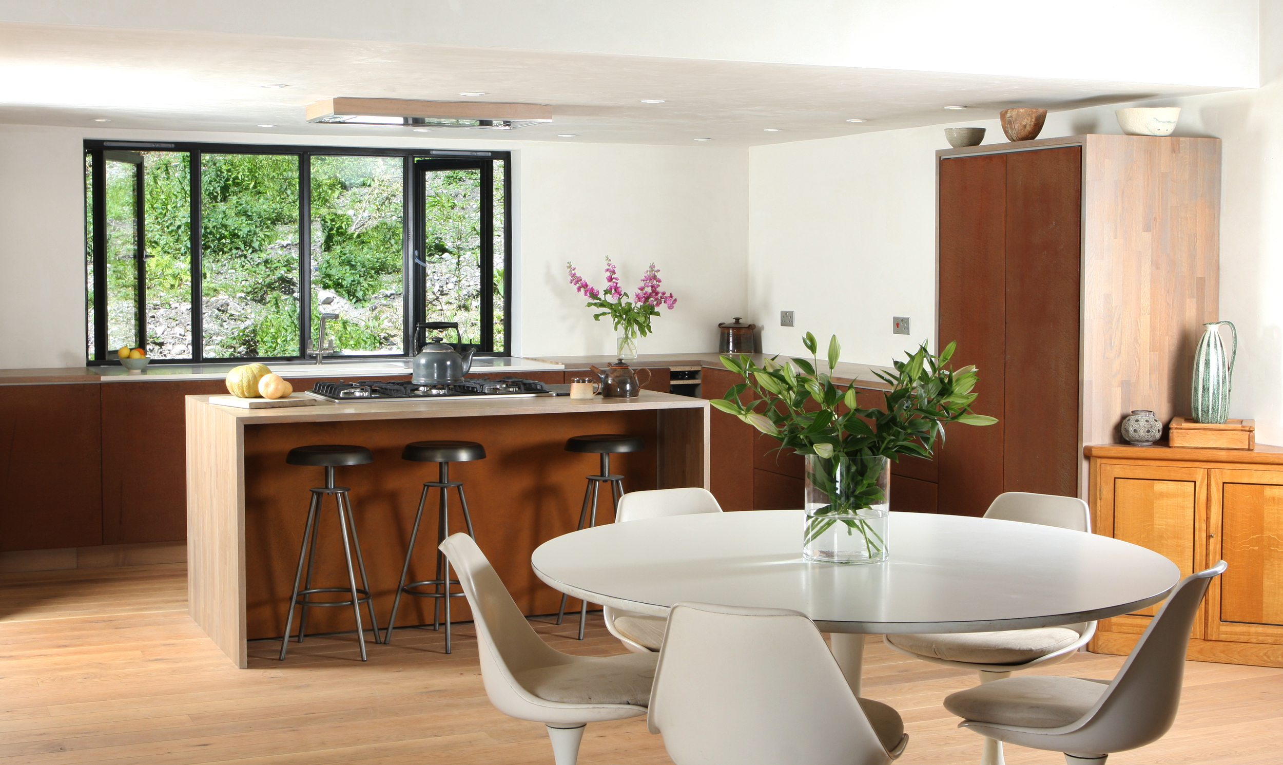 The bespoke kitchen, designed by  James Verner , is perfect to cook up a feast of  local produce.
