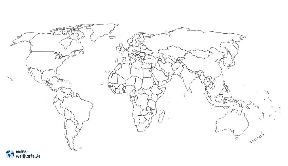WELTKARTE: GRENZEN  Weltkarte zum Ausmalen mit Landesgrenzen.