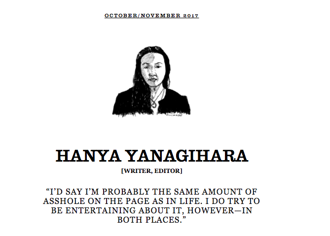 OCTOBER 2017 - That said, Hanya was very nice via email! for  The Believer
