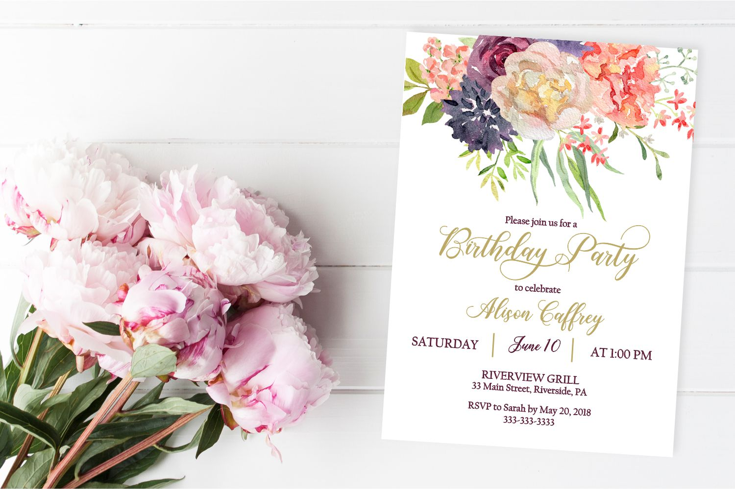 marsala floral birthday invitation