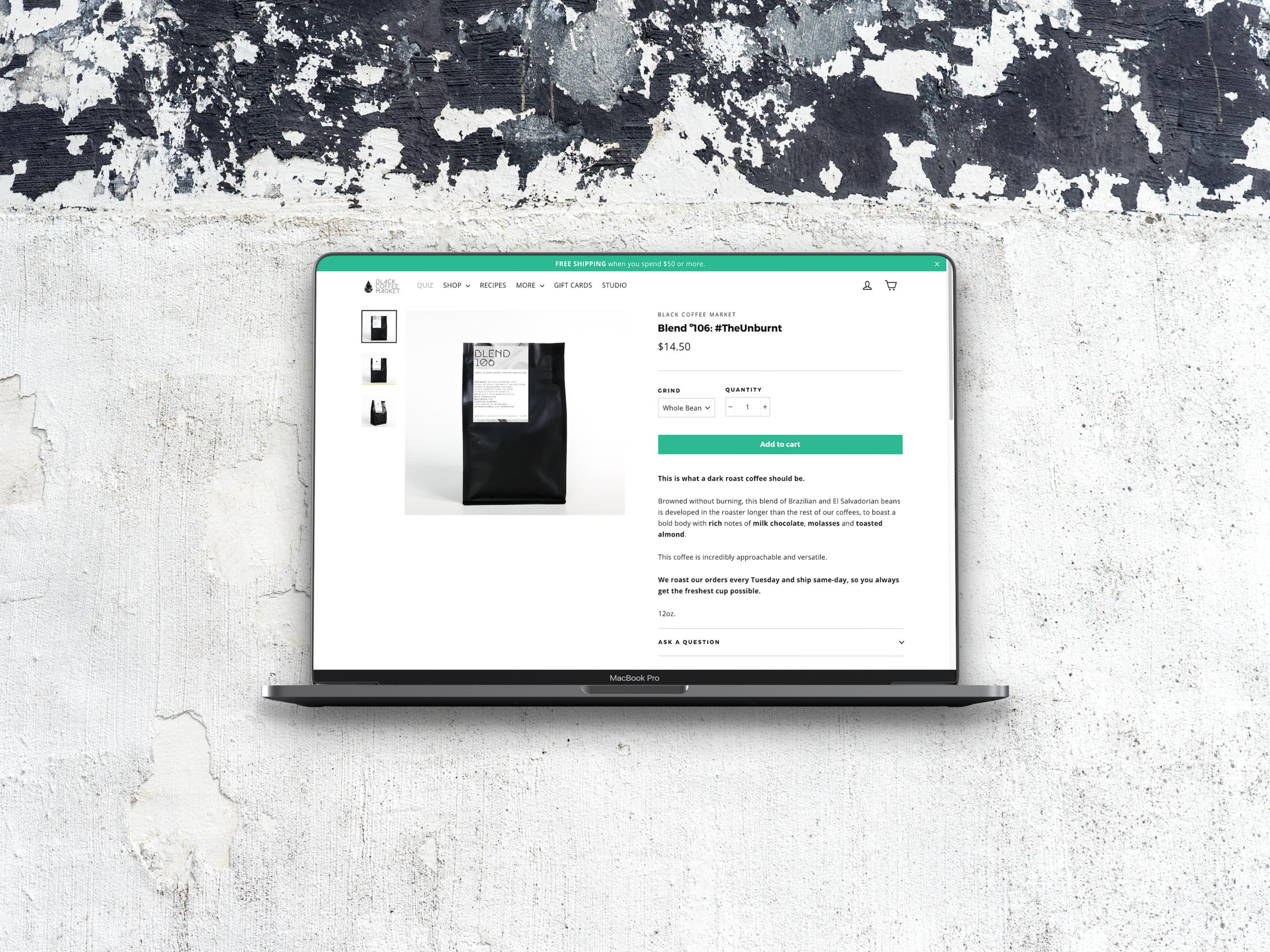 Black Coffee Market - Branding / Web Design / Package Design