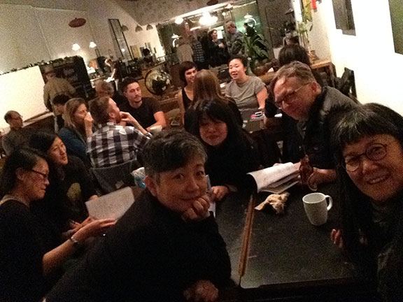 Lovely visit yesterday with good friends i've not seen in a while at the Lost & Found Cafe's launch of Nightwood Editions Fall books,among which is 'Perpetual', graphic prose and poetics, writings by Rita Wong and drawings by Cindy Mochizuki.