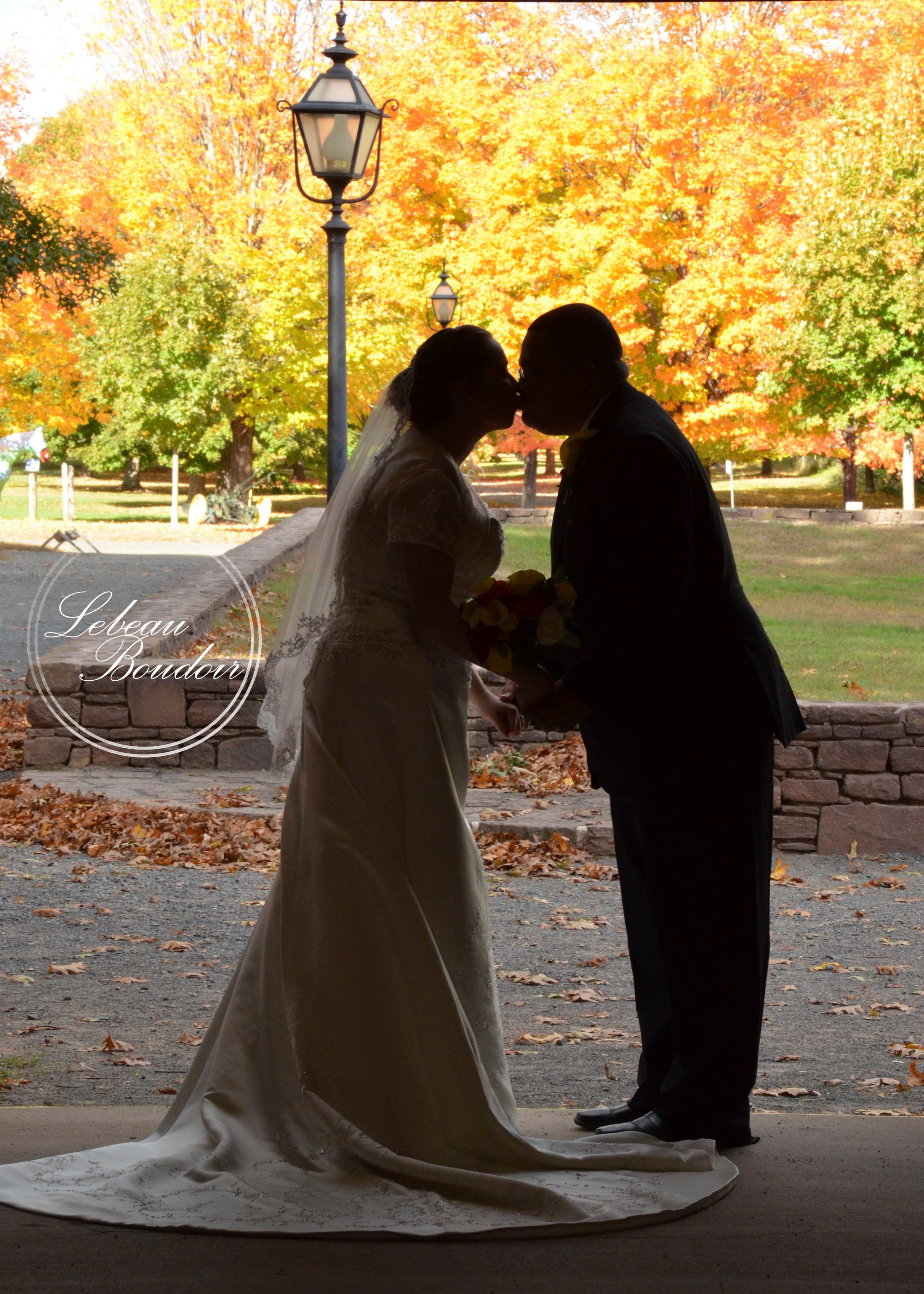 silhouette fall wedding