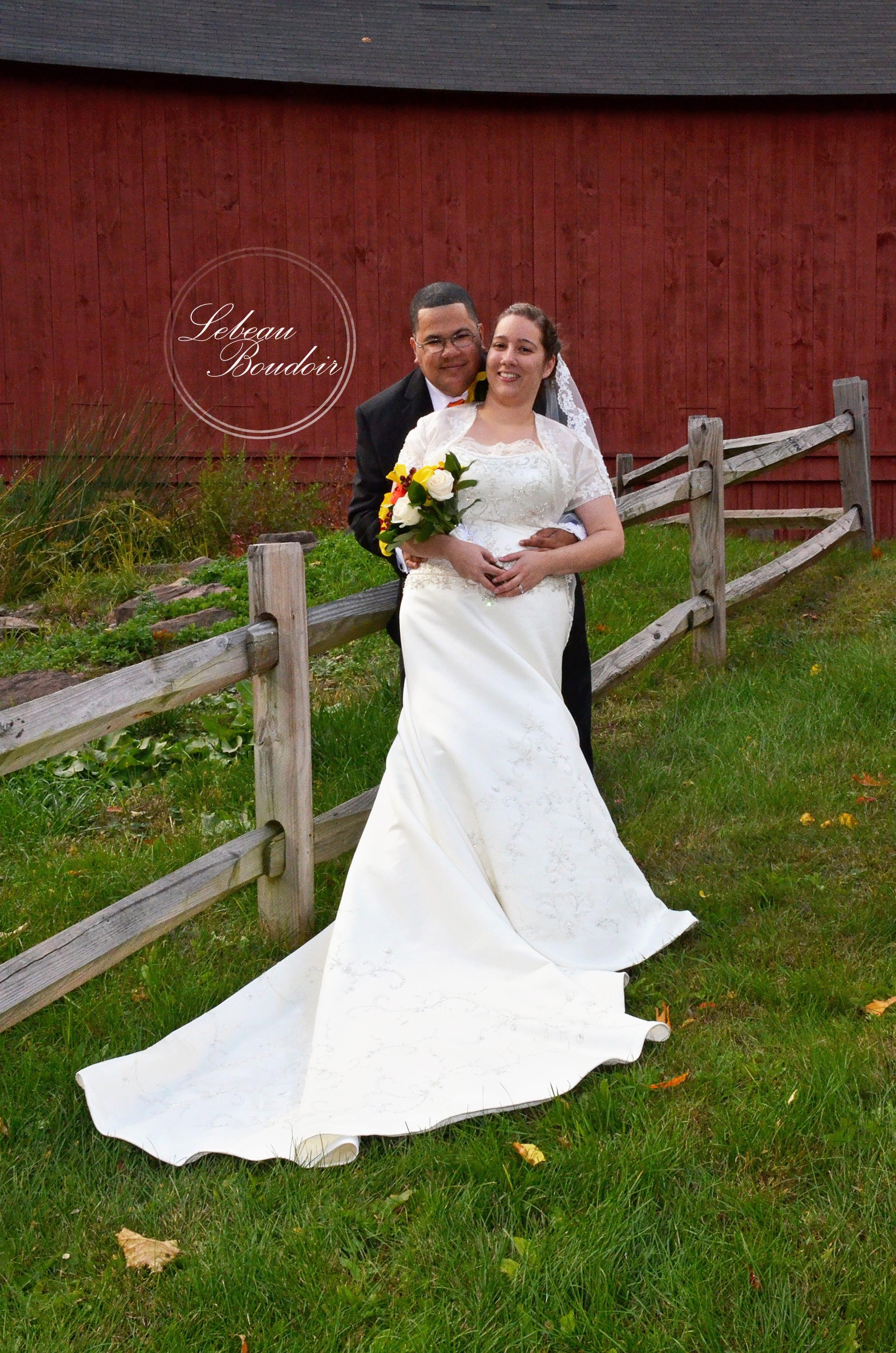 fall wedding red barn