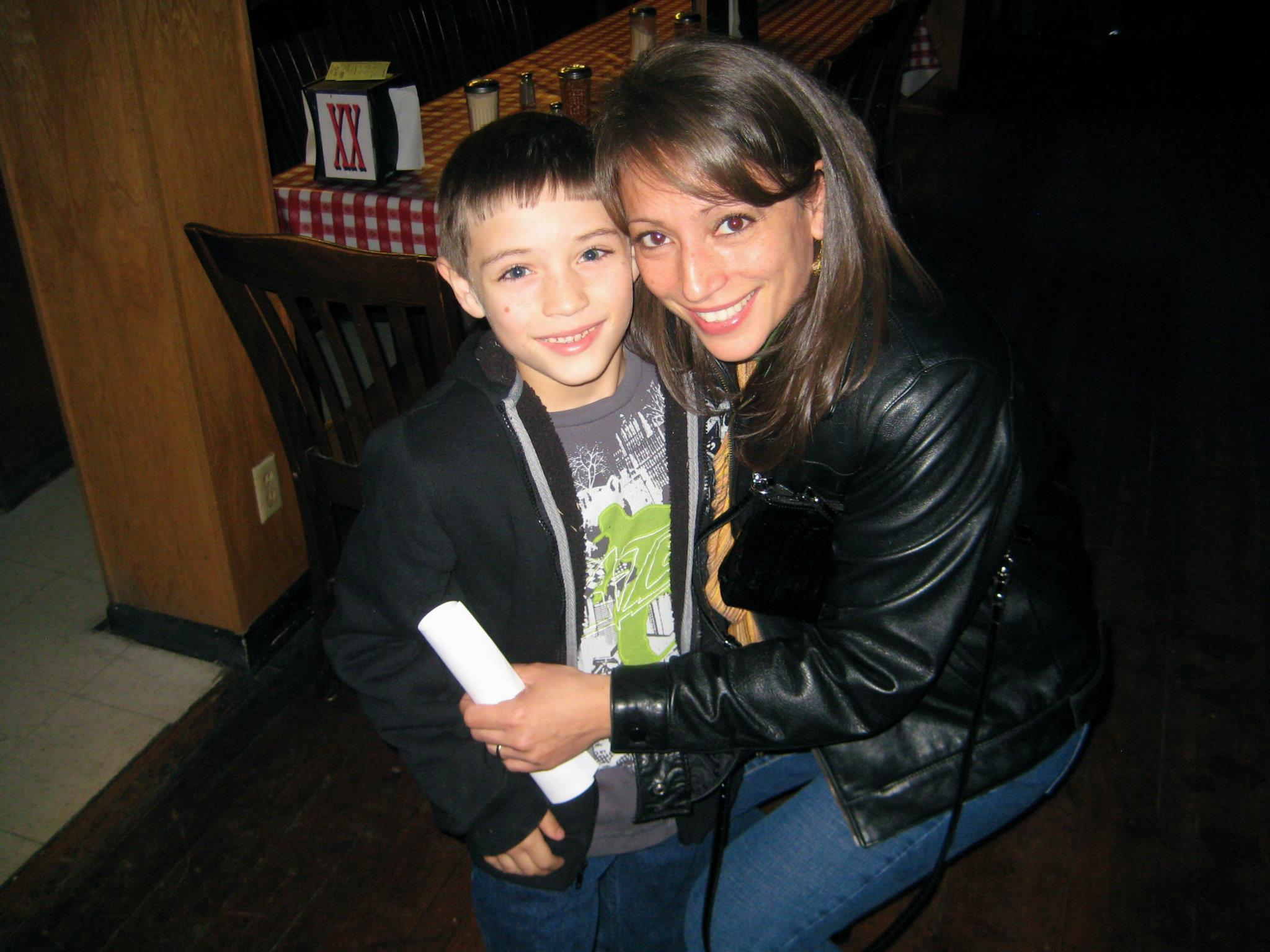 Linda and her son, Jared, at a PMA Christmas Party.