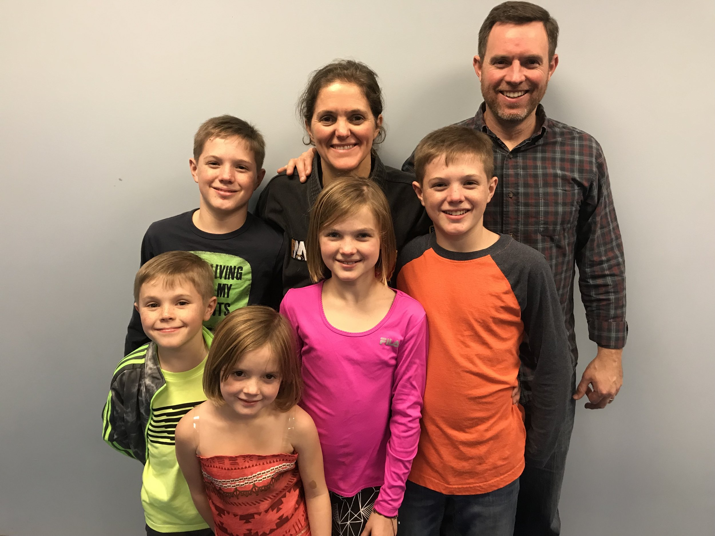 Kristie, with her husband, Sam, and their 5 children - Austin, Eli, Maggie, Grady, and Mollie. The whole family trains at PMA!