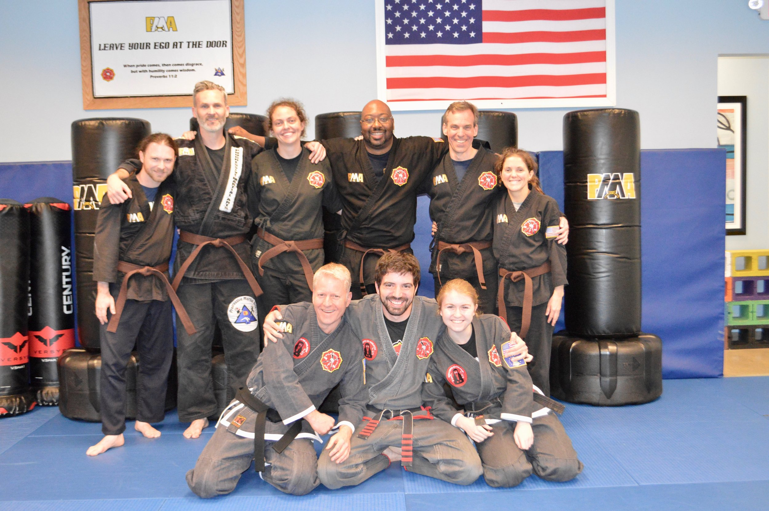 Isaac at the end of his brown belt test in FILKENJUTSU Kenpo!