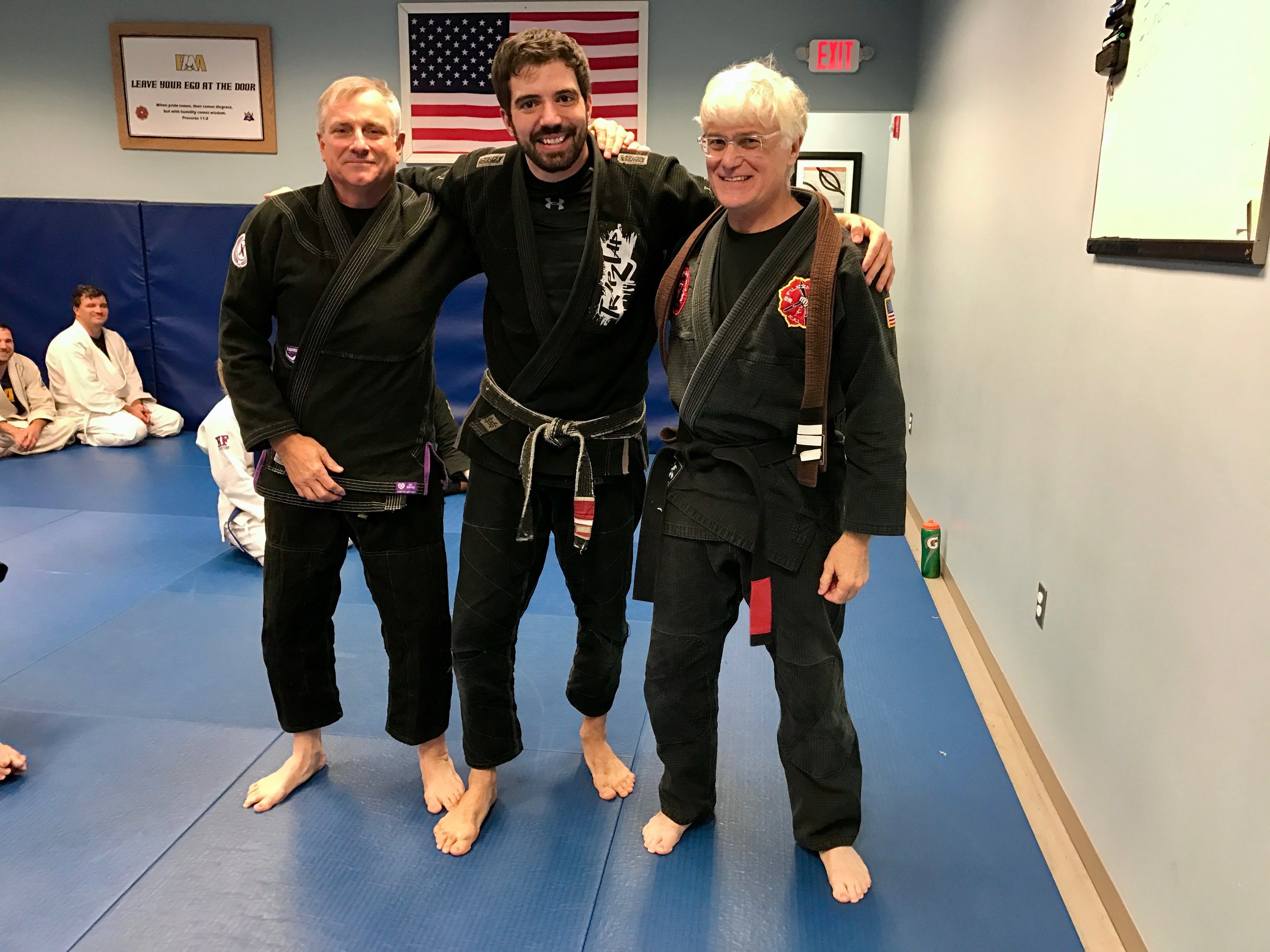 This is Bill on the night he earned his Brazilian Jiu Jitsu Black Belt. This is an unbelievable accomplishment at any age, but especially to do in your 60s! SiJo Bruce Corrigan gave Bill the belt from around his waist that night.