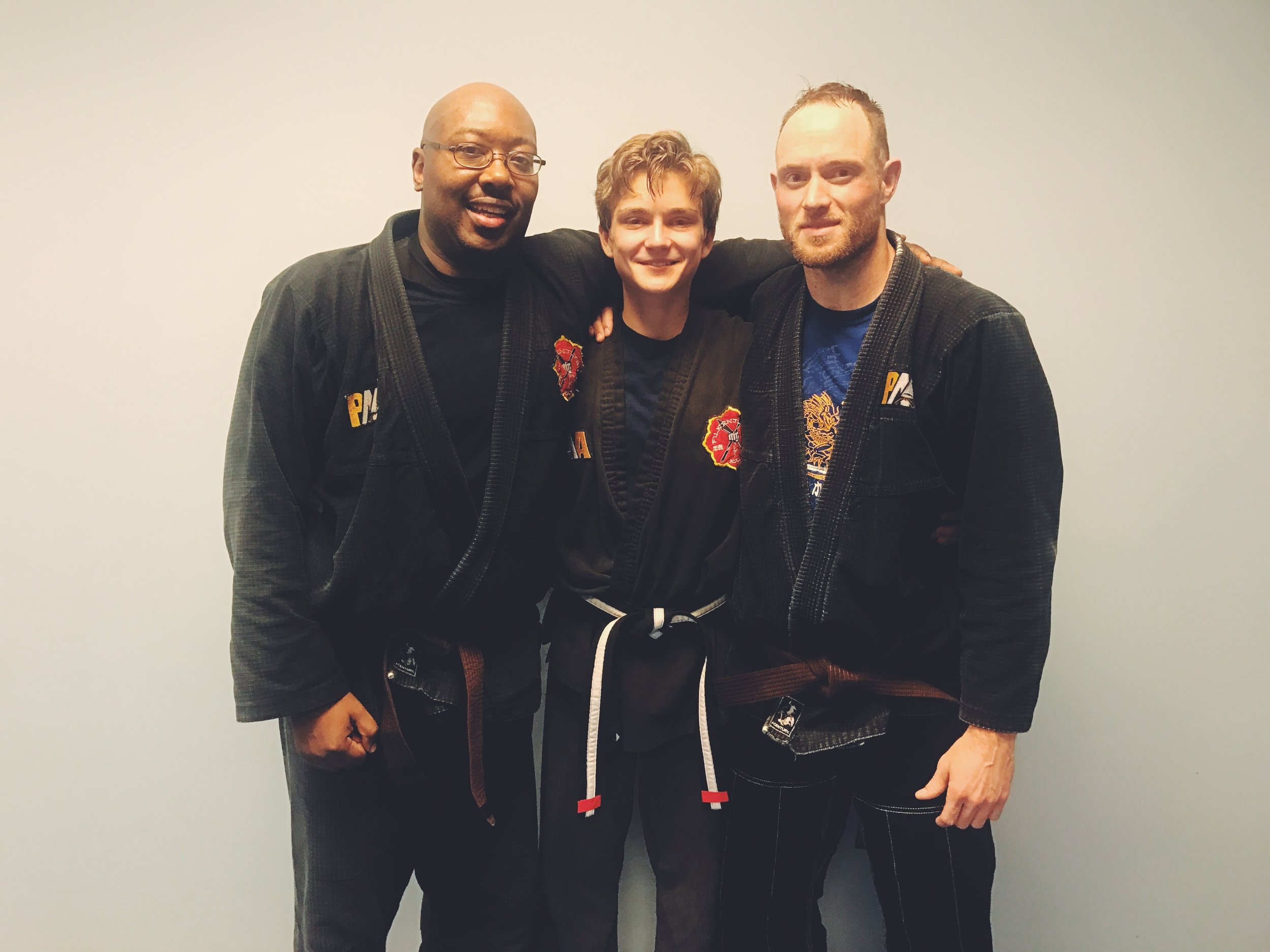 Matt alongside two of his training partners and Black Belt Test partners, Monty and Iain!